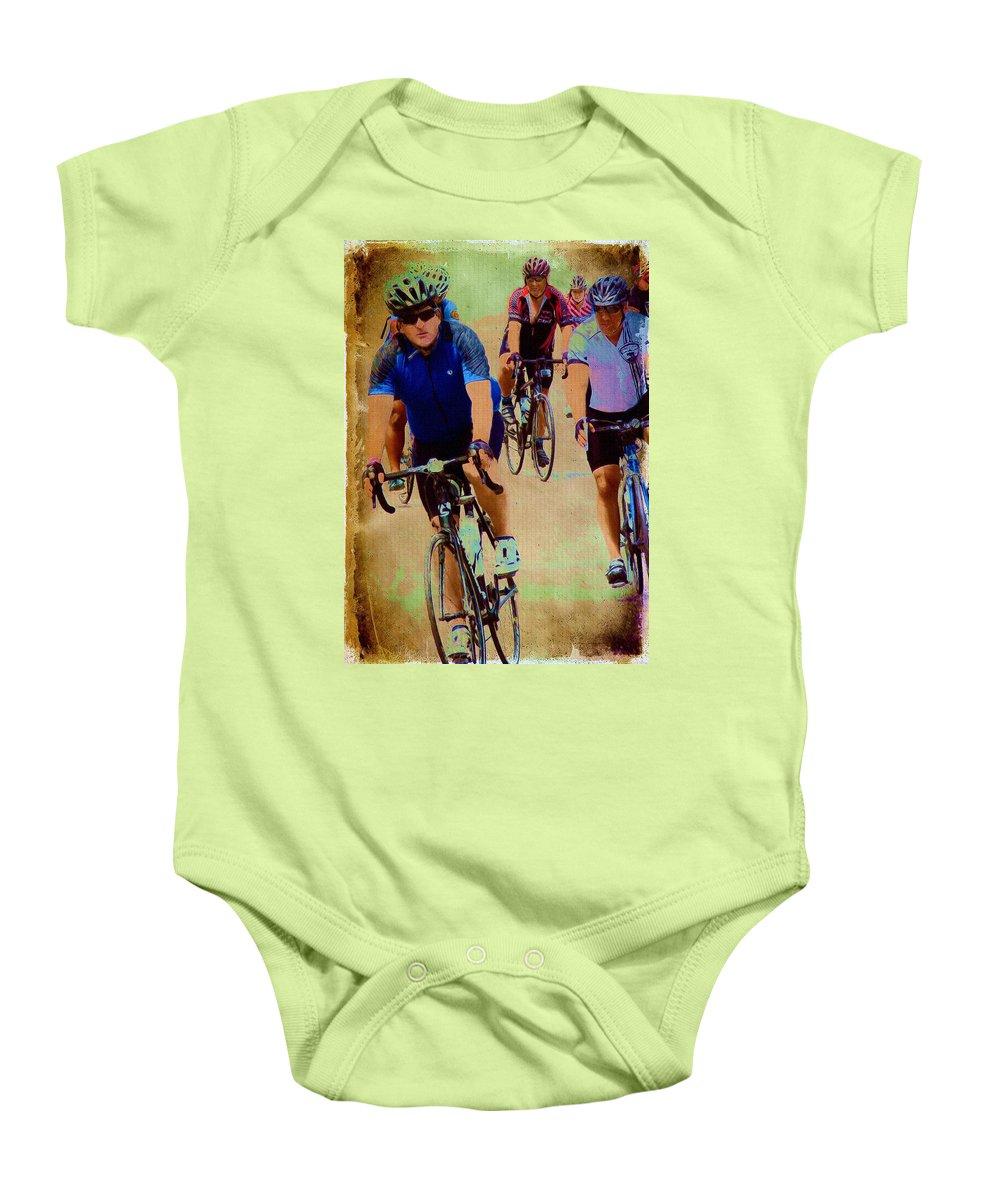 Bicyles Baby Onesie featuring the digital art Bikers by Cassie Peters