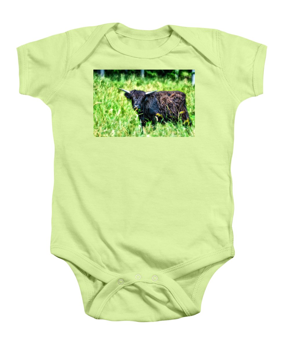 Black Baby Onesie featuring the photograph Black Cow by Bill Cannon