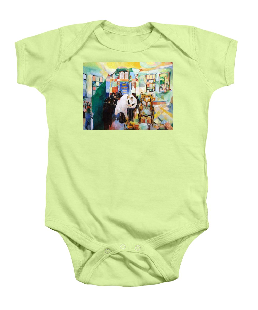 Baby Onesie featuring the painting Blessed Is He Who Has Come by David Baruch Wolk