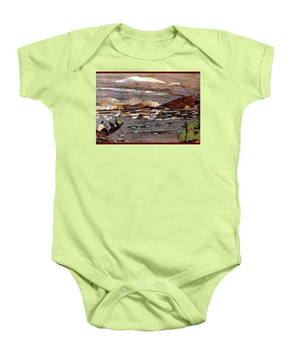 Boating Scene Baby Onesie featuring the mixed media Boating In River by Basant Soni