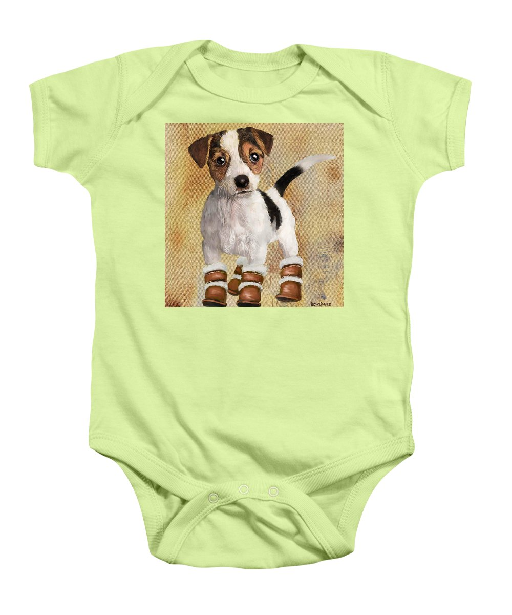 Figure Baby Onesie featuring the painting Boots For Baxter by Scott Bowlinger