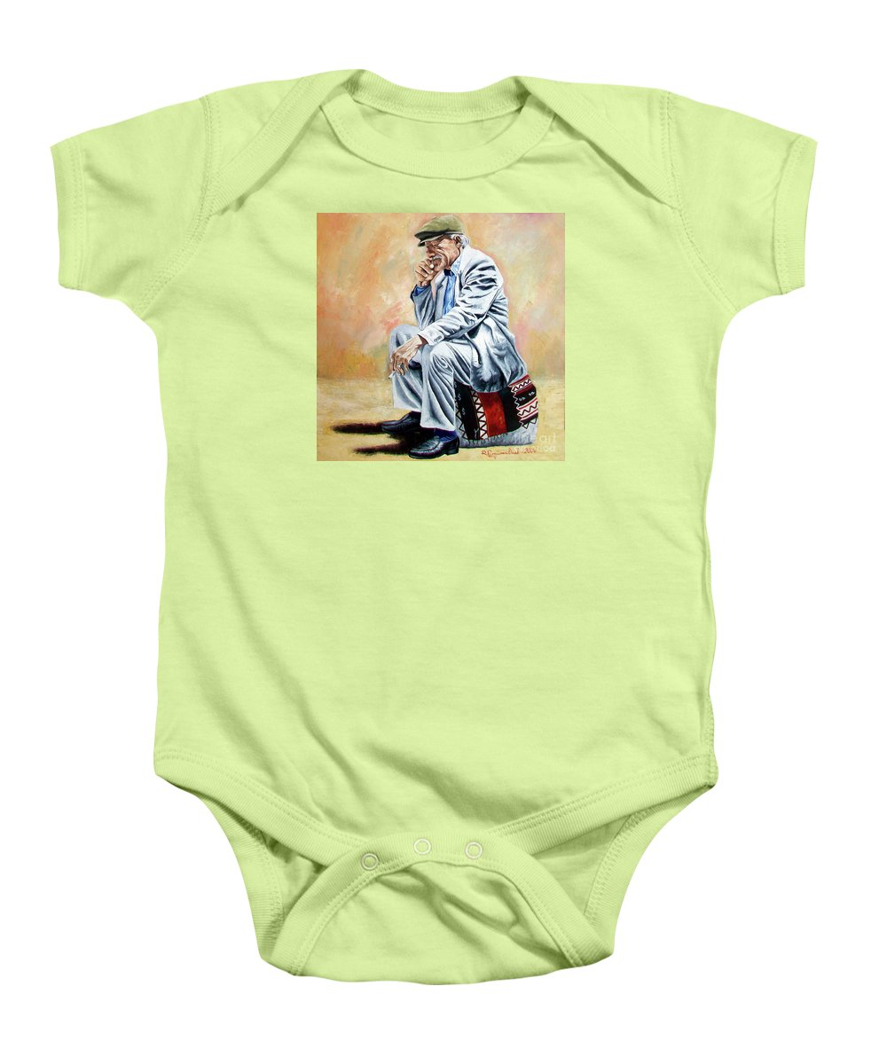 Figurative Baby Onesie featuring the painting Break For Smoking - Apeadero Para Fumar by Rezzan Erguvan-Onal