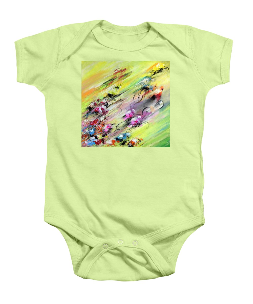 Sports Baby Onesie featuring the painting Breaking Away by Miki De Goodaboom