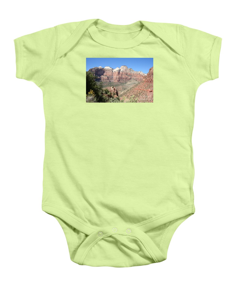 Mountains Baby Onesie featuring the photograph Canyon Overview Zion Park by Christiane Schulze Art And Photography