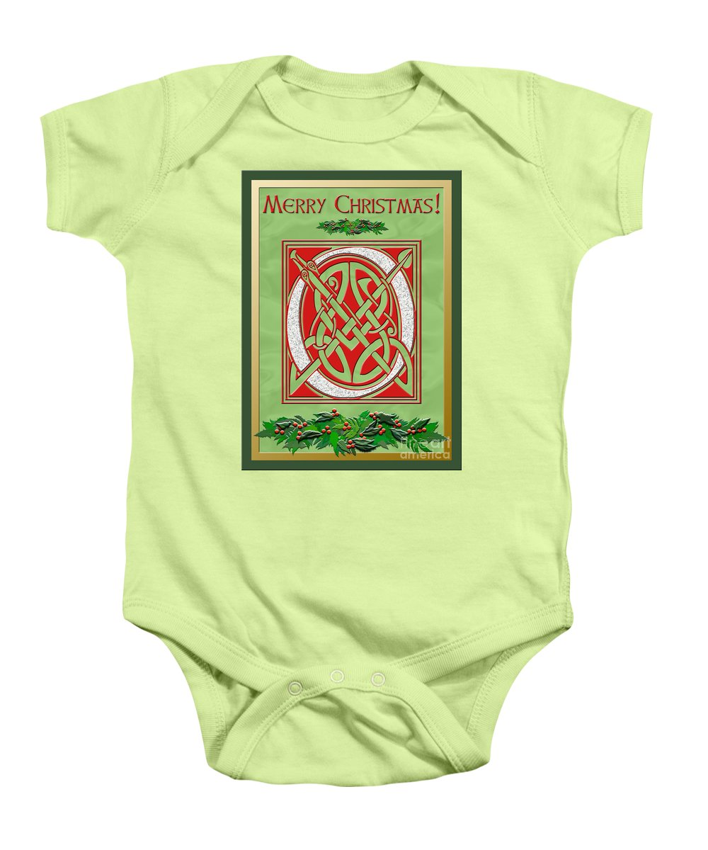 A Beautiful Illuminated Celtic Script Letter For Everyone On Your Christmas Card List. A Granite Letter Is In A Festive Red Background With Holly Decorations On A Pale Green Satin Background. A Gold Foil Border Adds Elegance. Baby Onesie featuring the digital art Celtic Christimas O Initial by Melissa A Benson