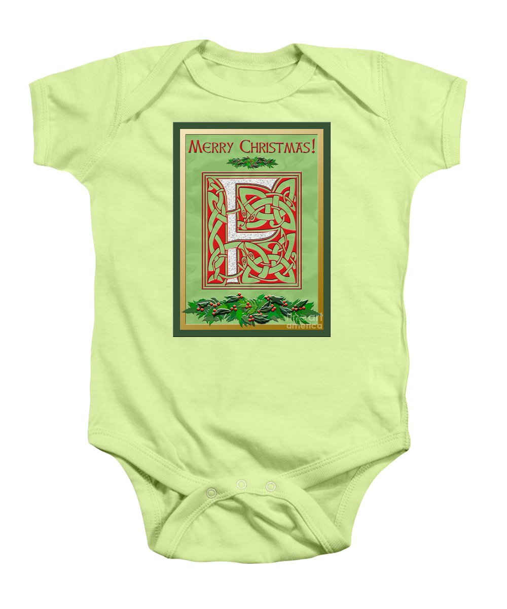 Monogram Baby Onesie featuring the digital art Celtic Christmas F Initial by Melissa A Benson