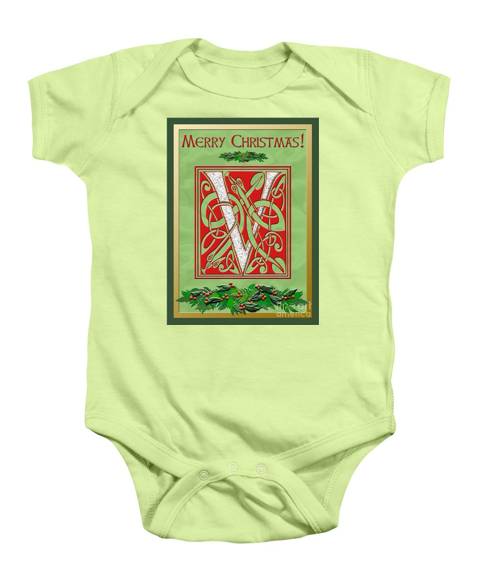Monogram Baby Onesie featuring the digital art Celtic Christmas V Initial by Melissa A Benson