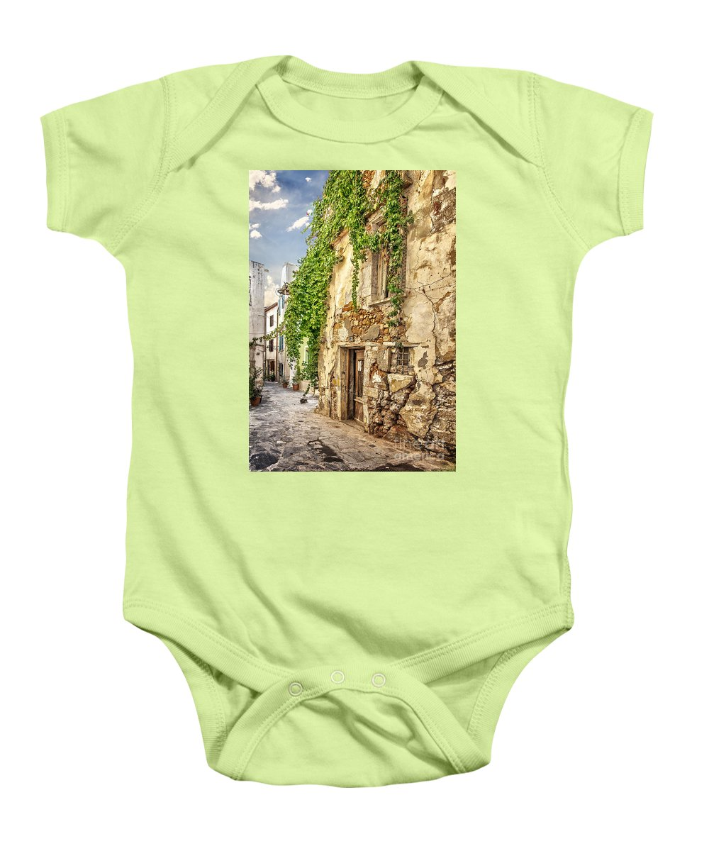 Crete Baby Onesie featuring the photograph Chania Old Street by Sophie McAulay