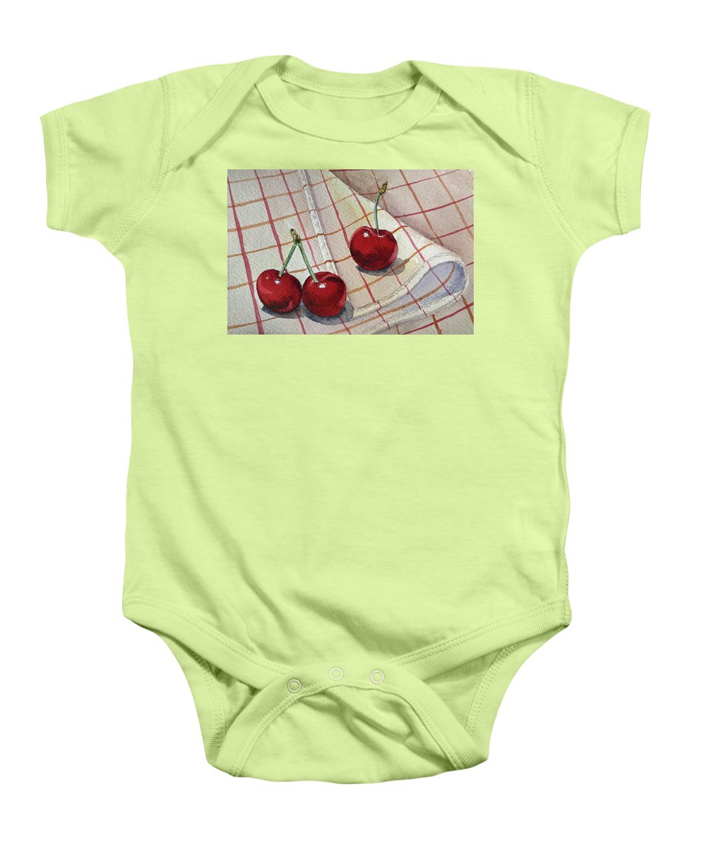 Watercolor Paintings Baby Onesie featuring the painting Cherry Talk By Irina Sztukowski by Irina Sztukowski