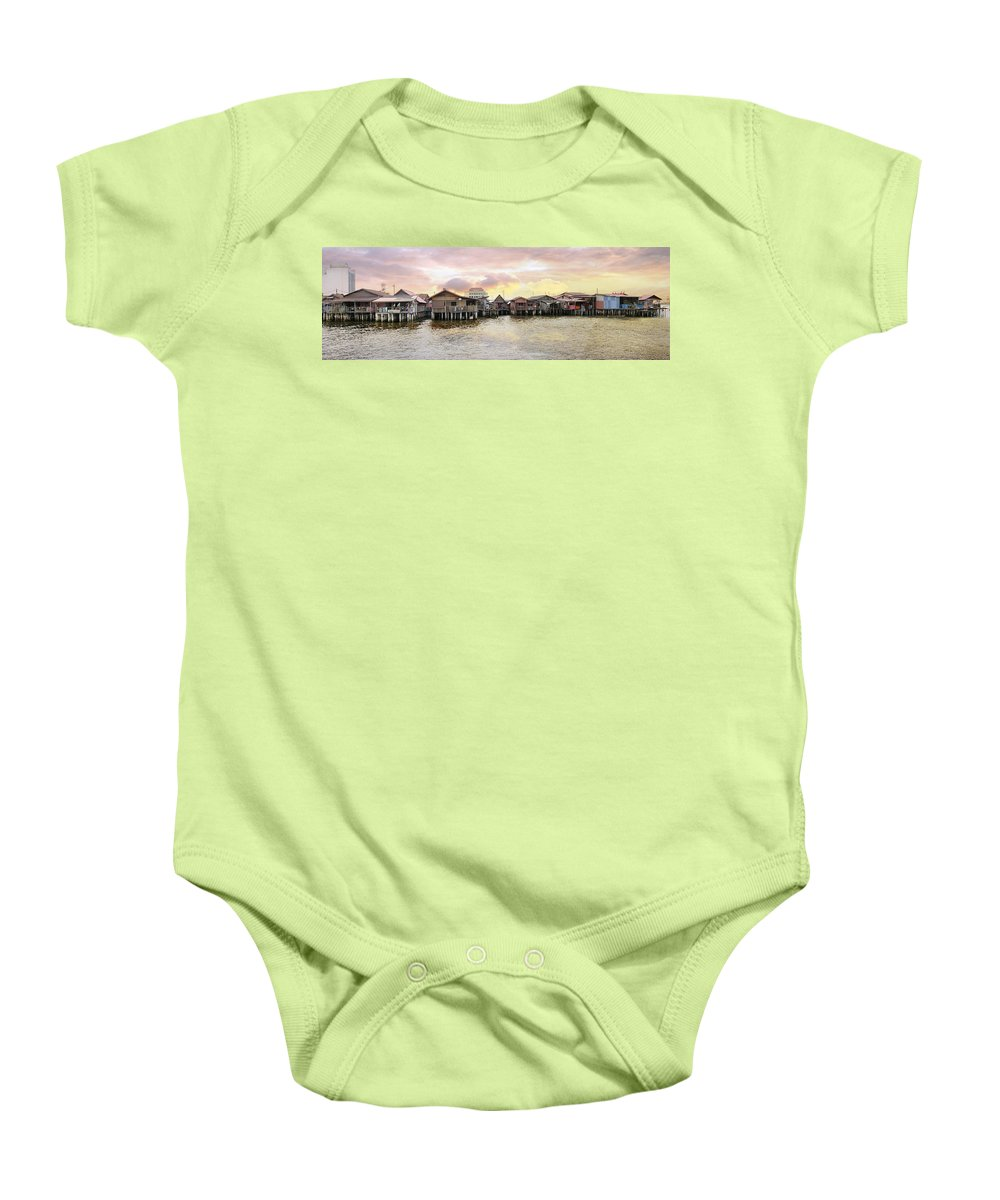 Chew Baby Onesie featuring the photograph Chew Jetty Heritage Site In Penang by Jit Lim