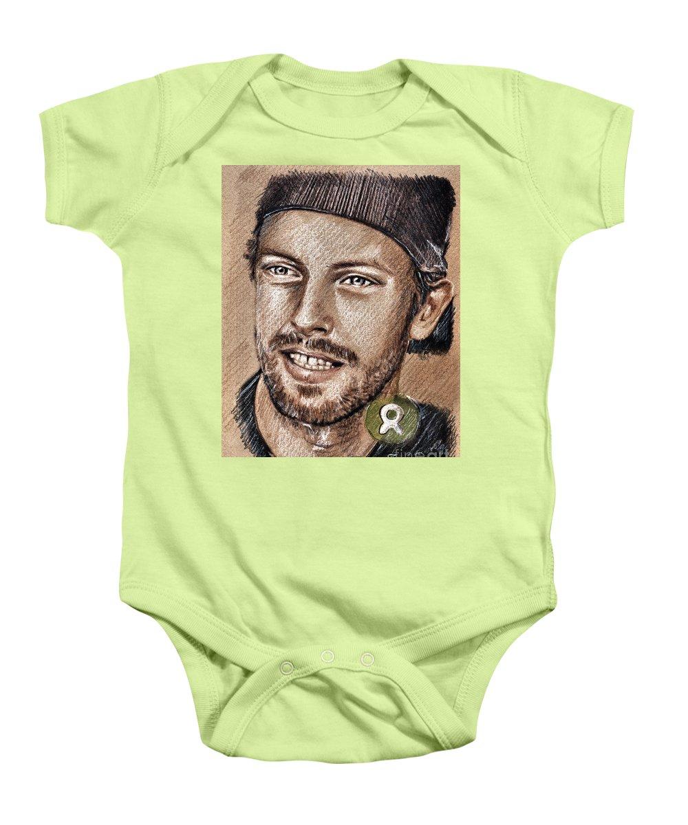 Chris Martin Portraits Baby Onesie featuring the drawing Chris Martin by Daliana Pacuraru