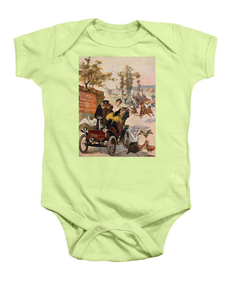 Illustrations; Automobile; Car Baby Onesie featuring the drawing Circus Star Kidnapped Wilhio S Poster For De Dion Bouton Cars by Anonymous