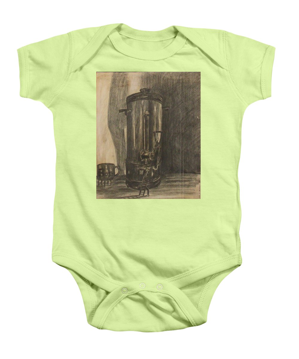 Surrealism Baby Onesie featuring the drawing Coffee For The Boss by Michael Anthony Edwards