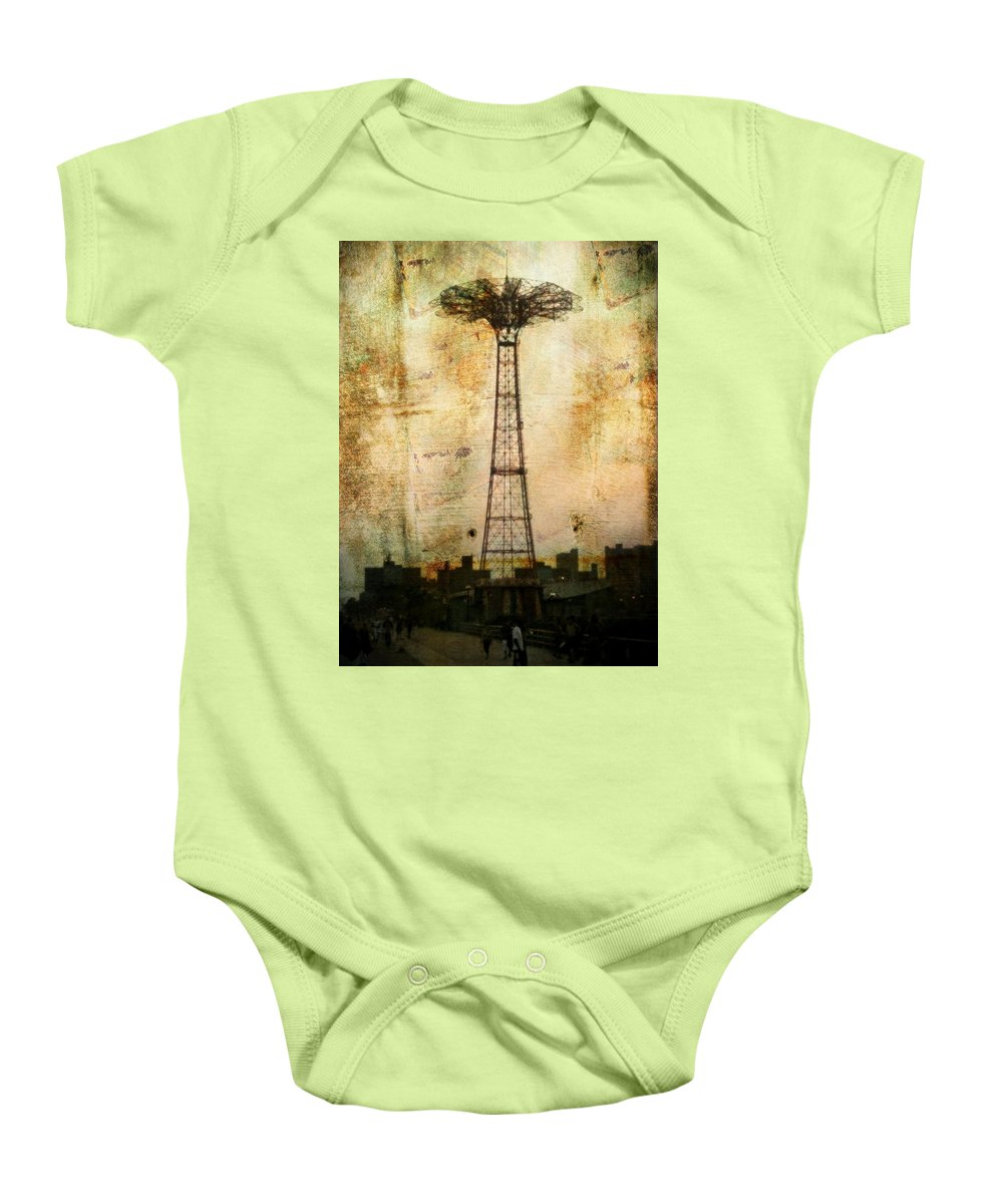 Brooklyn Baby Onesie featuring the photograph Coney Island Eiffel Tower by Jon Woodhams