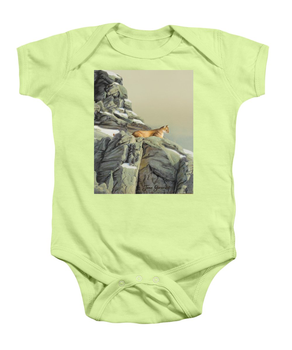 Cougar Baby Onesie featuring the painting Cougar Perch by Jane Girardot