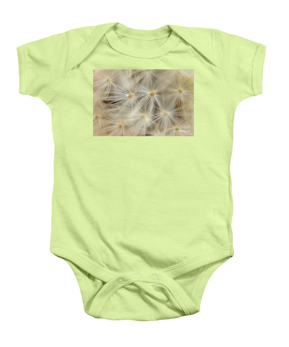 Nature Baby Onesie featuring the photograph Dandelion Seed Head Macro Iv by Debbie Portwood