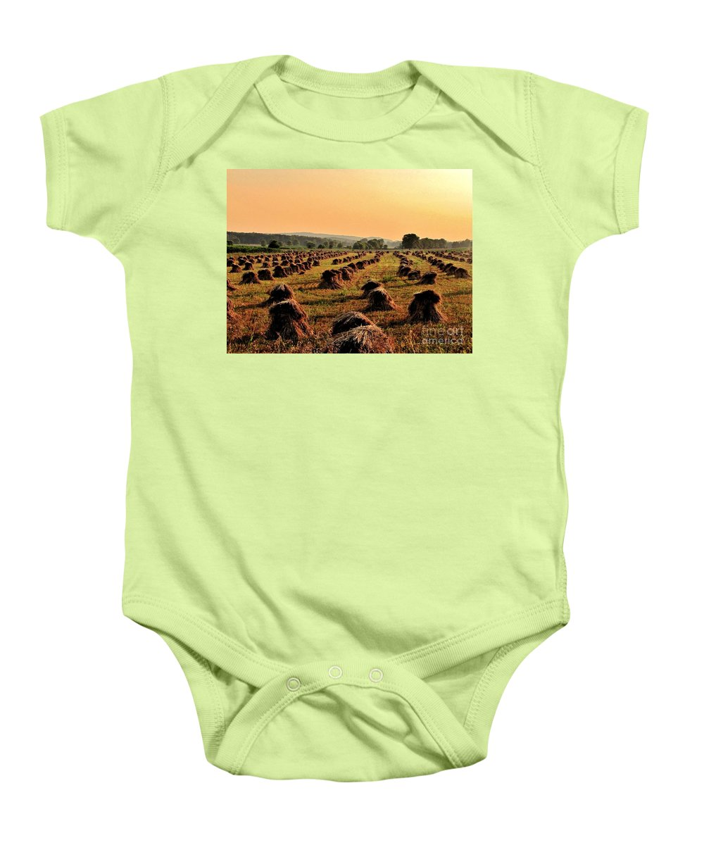 Amish Field Baby Onesie featuring the photograph Day Is Done by Marilyn Smith