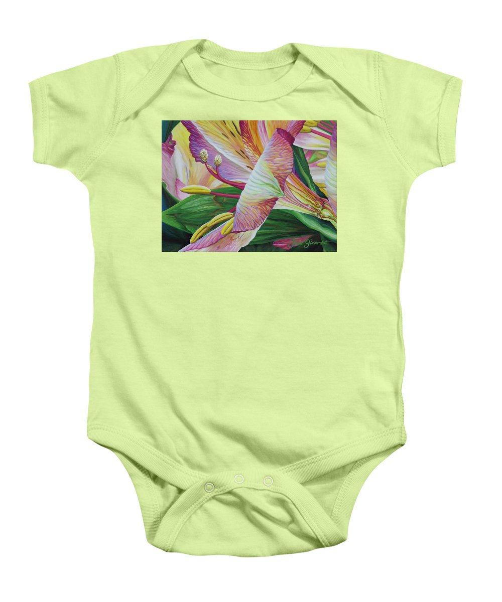 Day Lily Baby Onesie featuring the painting Day Lilies by Jane Girardot