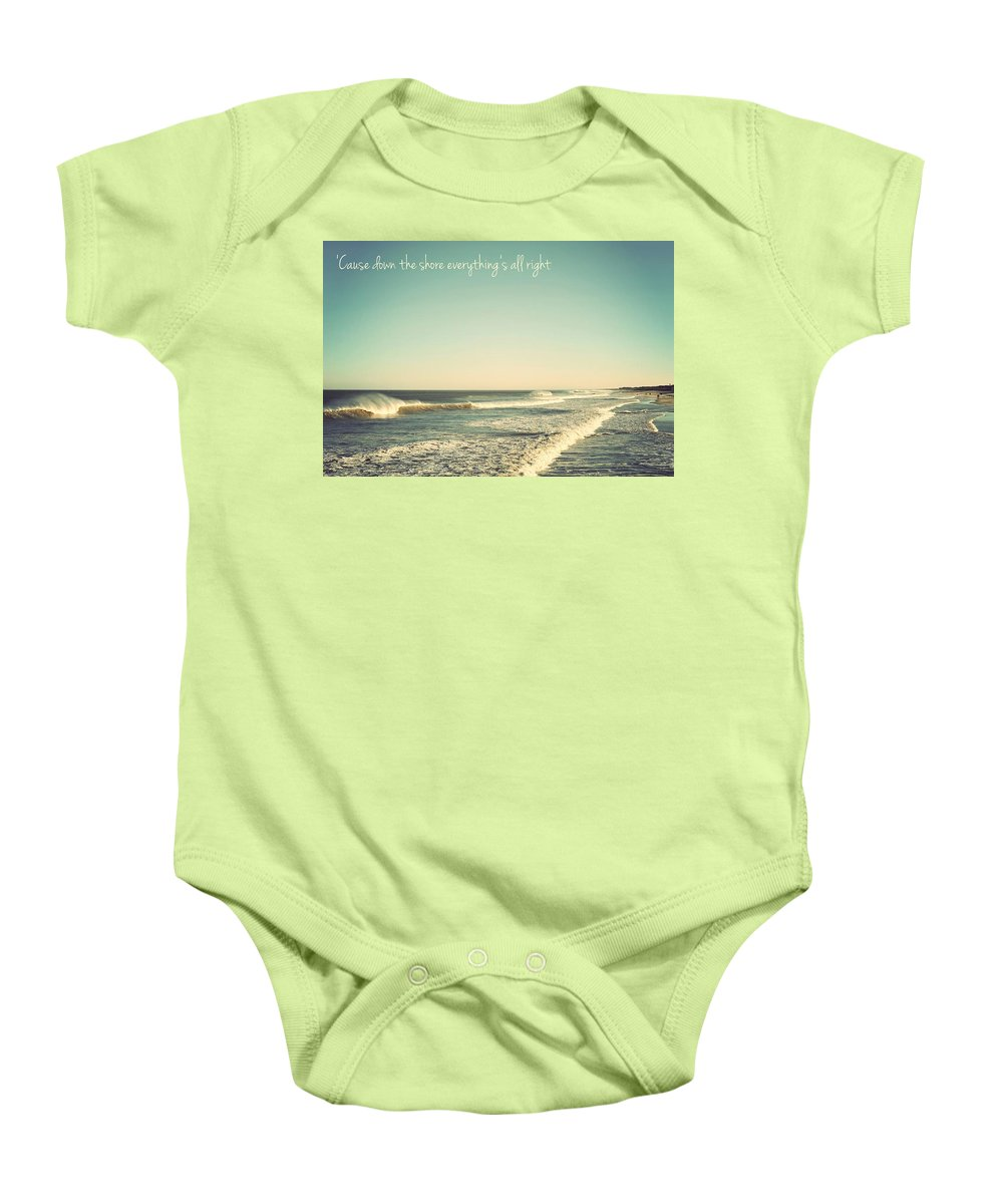 Terry Deluco Baby Onesie featuring the photograph Down The Shore Seaside Heights Vintage Quote by Terry DeLuco