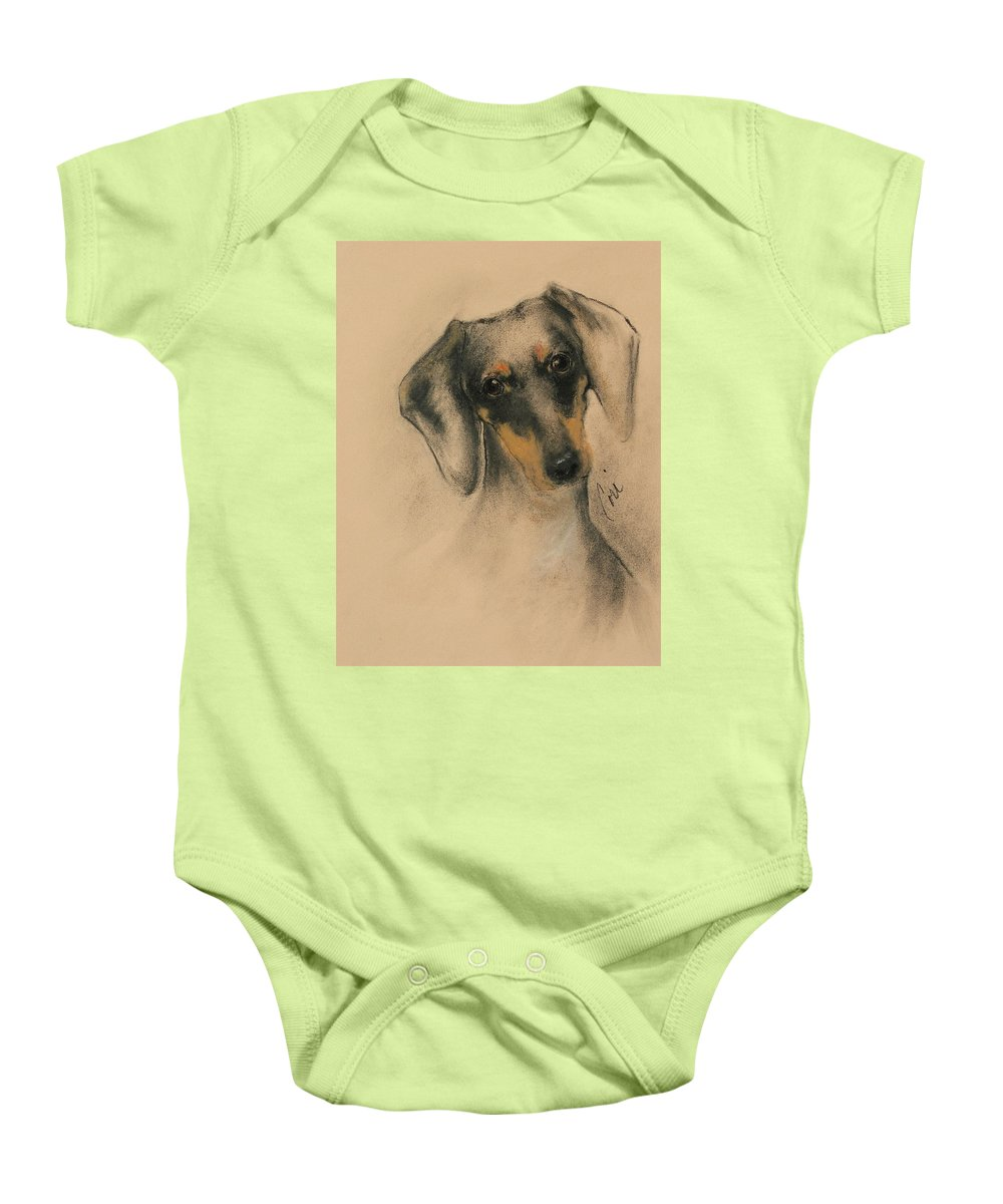 Dachshund Baby Onesie featuring the drawing Doxie by Cori Solomon