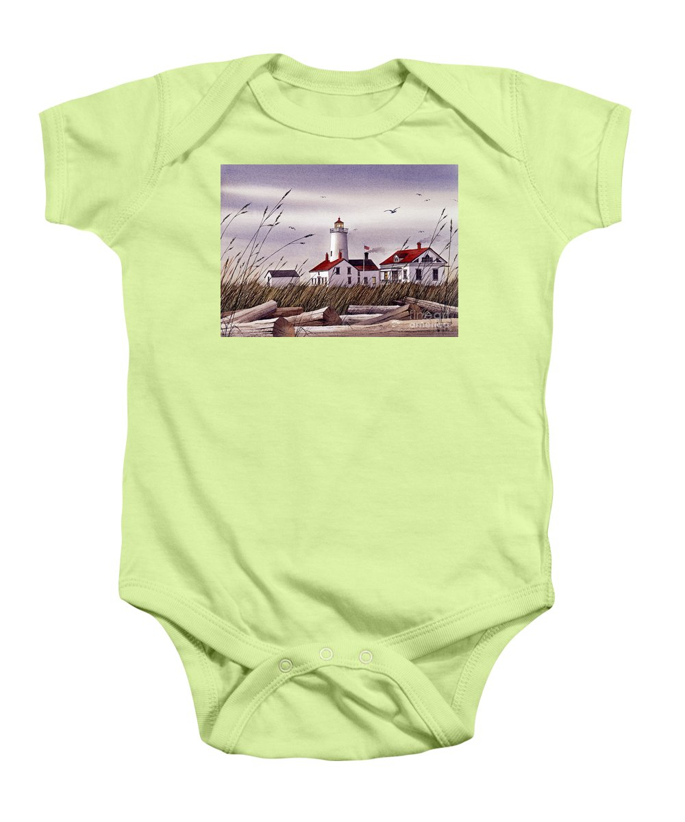 Lighthouse Fine Art Print Baby Onesie featuring the painting Dungeness Lighthouse by James Williamson