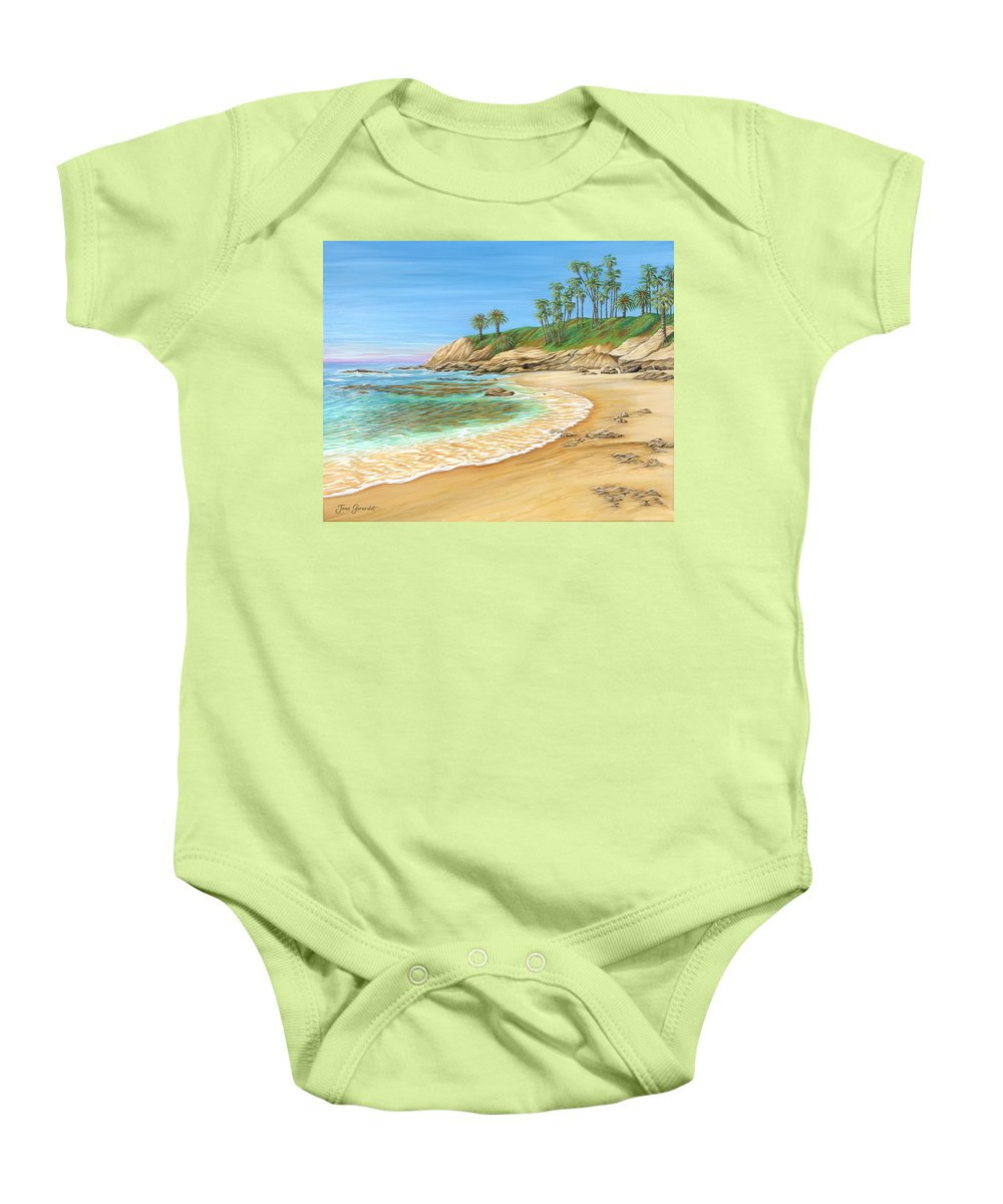 Beach Baby Onesie featuring the painting Early Morning Laguna by Jane Girardot