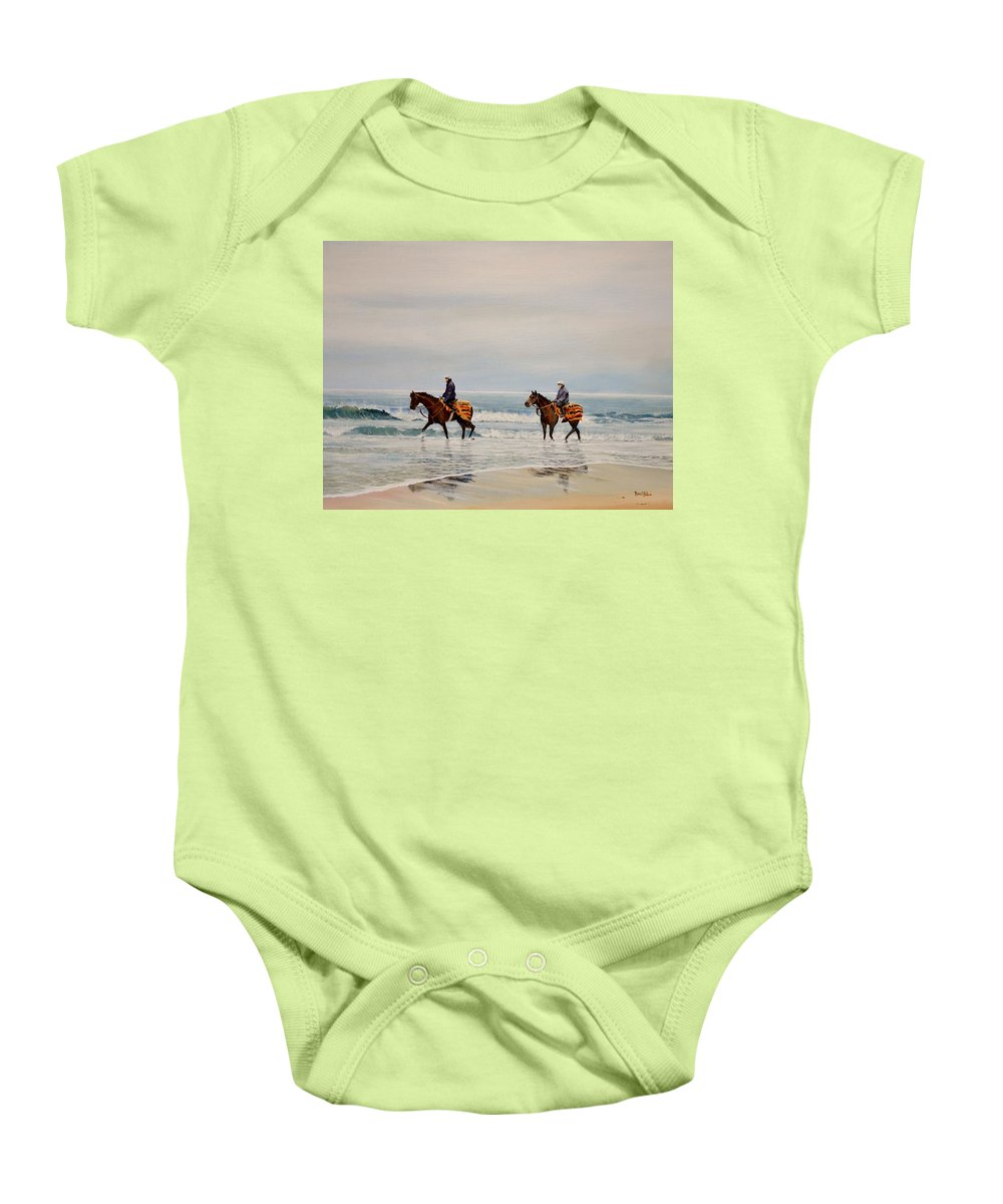 Horses Baby Onesie featuring the painting Early Morning Paddle by Barry BLAKE