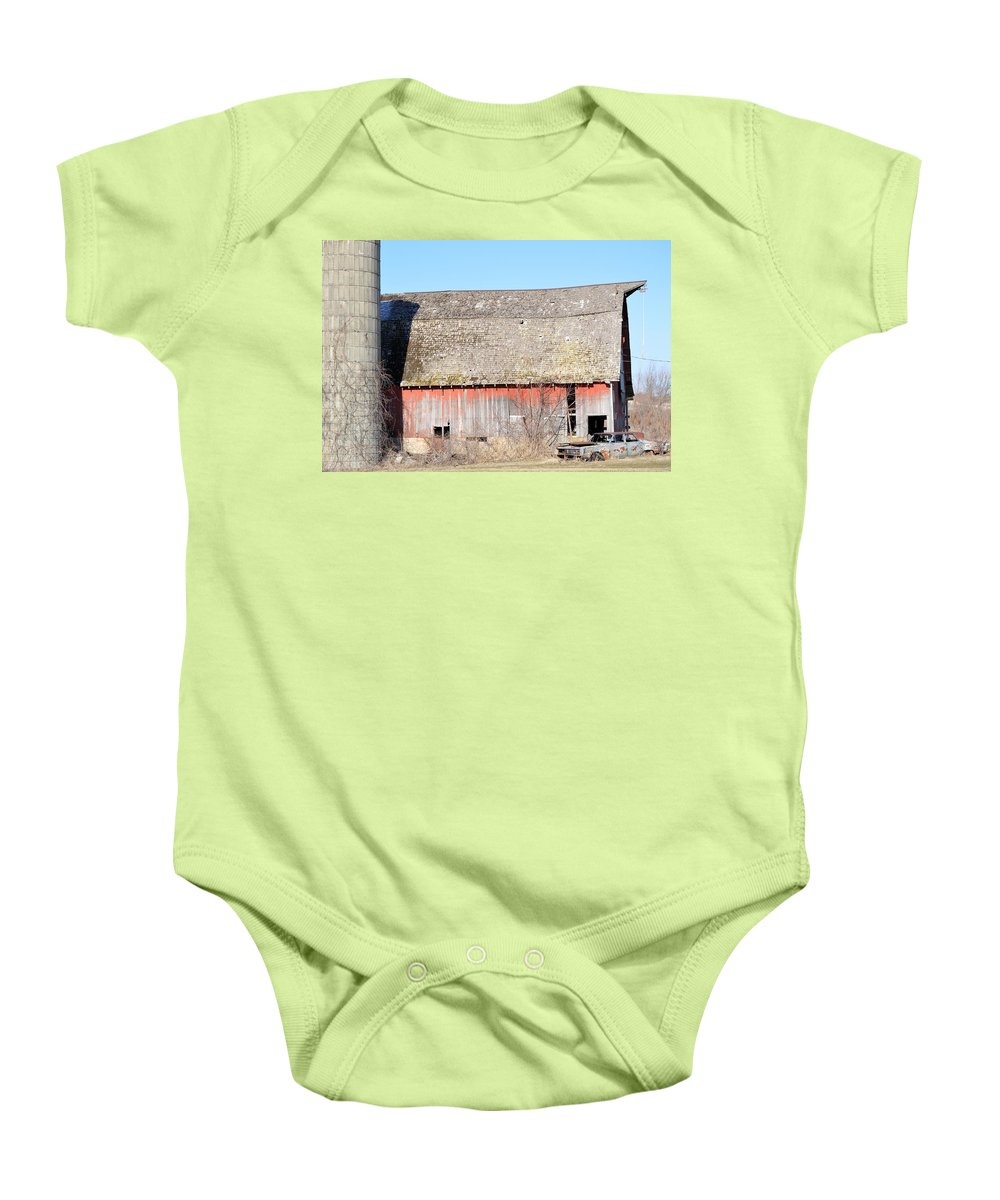 Barn Baby Onesie featuring the photograph Eduring Time by Bonfire Photography