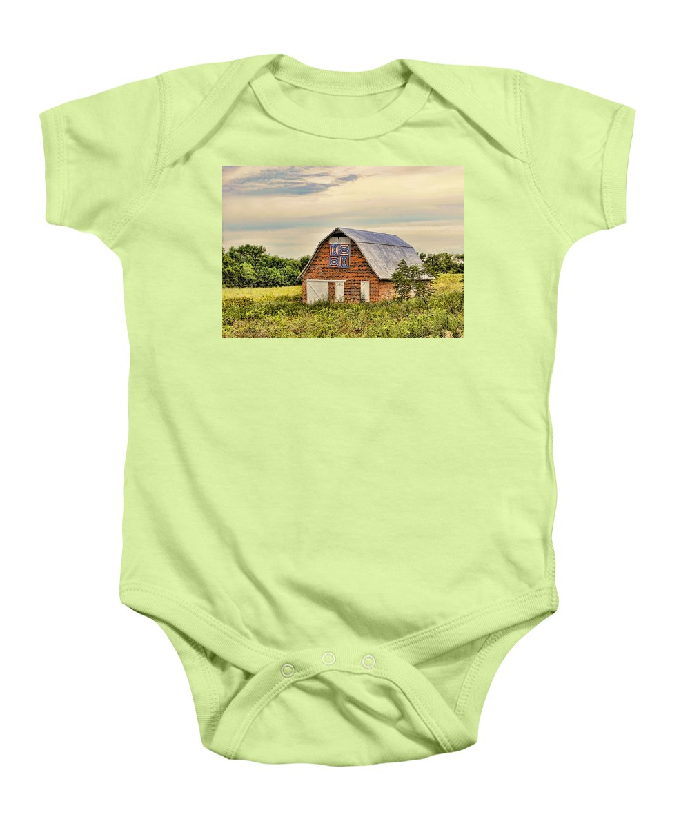 Quilt Baby Onesie featuring the photograph Electric Fan Quilt Barn by Cricket Hackmann