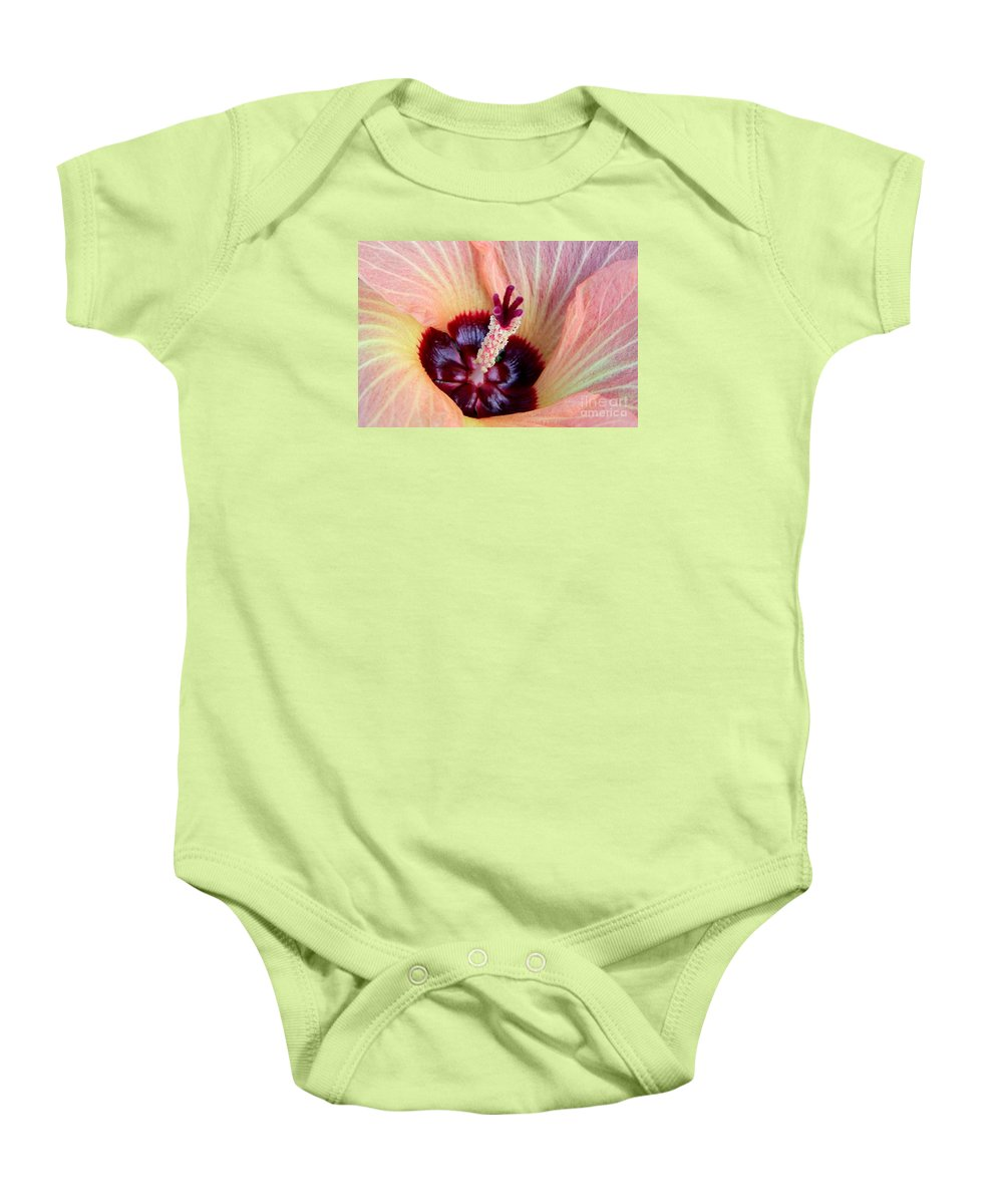Pink Baby Onesie featuring the photograph Evening Hau Blossom by Mary Deal