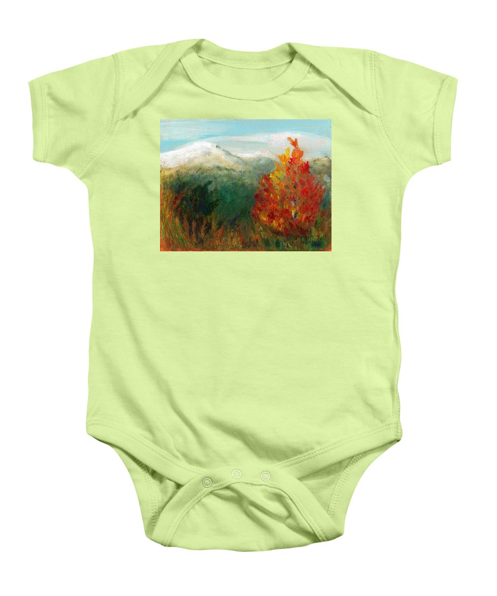 C Sitton Paintings Baby Onesie featuring the painting Fall Day Too by C Sitton