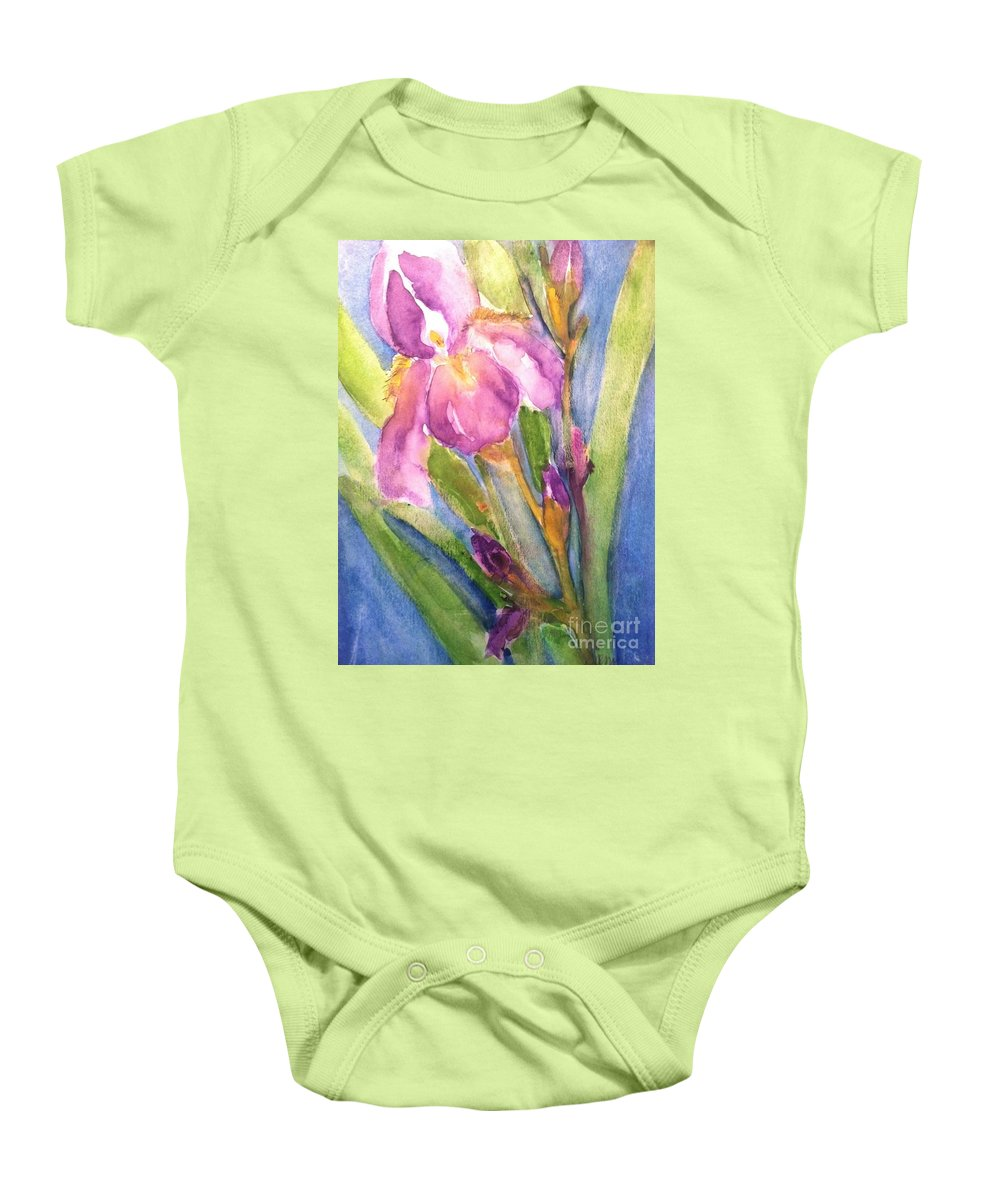 Owl Baby Onesie featuring the painting First Bloom by Sherry Harradence