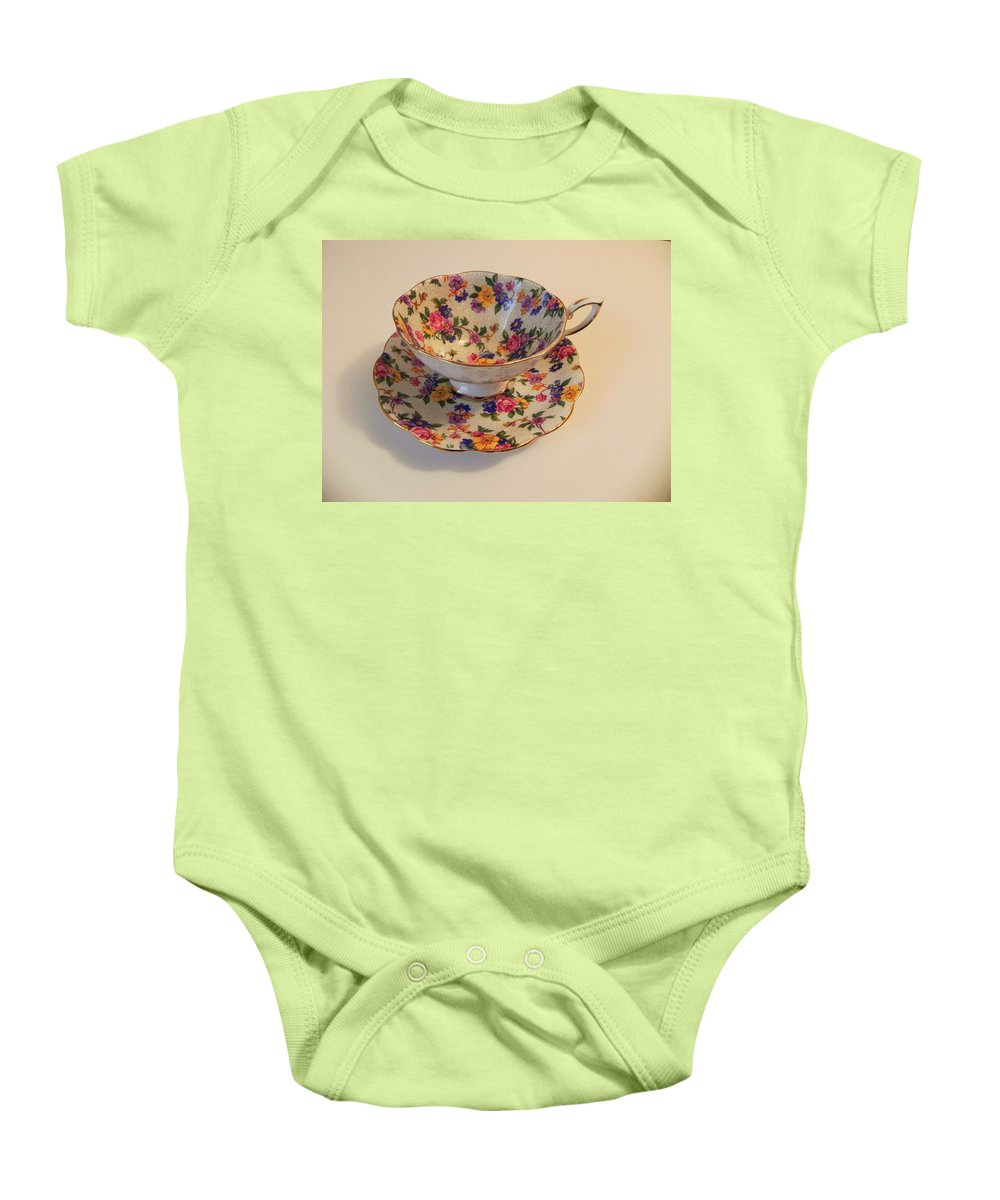Bone China Baby Onesie featuring the photograph Floral Tea Cup by Juanita Albert