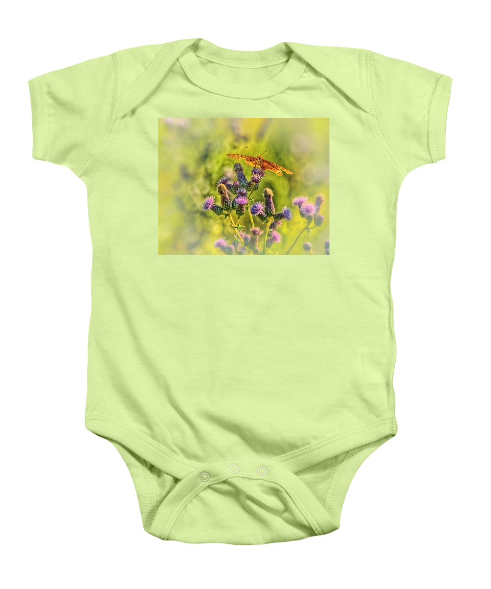 Butterfly Baby Onesie featuring the photograph Fritillary On Thistle by Susan Capuano