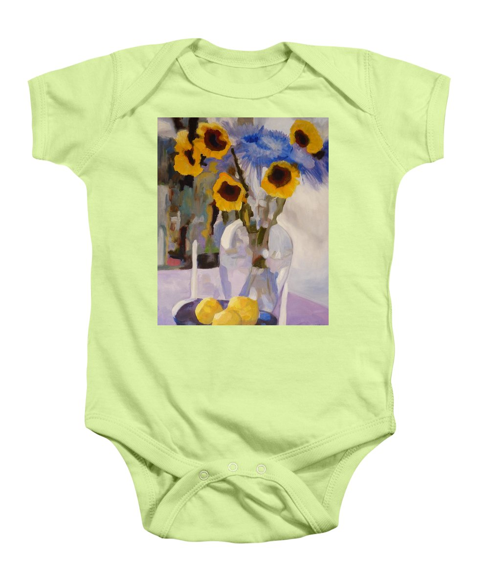 Still-life Baby Onesie featuring the painting Gifts Of The Sun by Susan Duda
