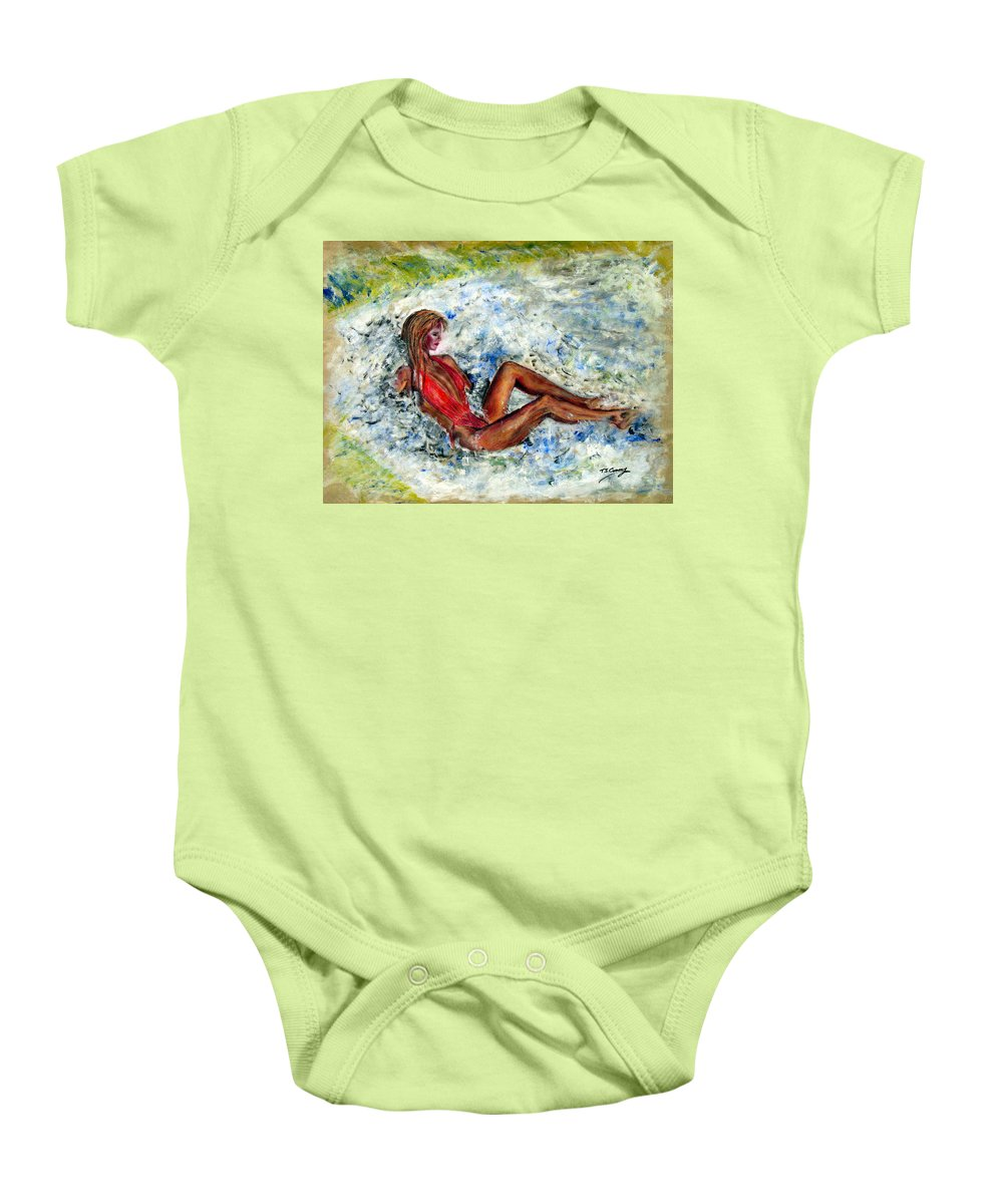 Girl Baby Onesie featuring the painting Girl In A Red Swimsuit by Tom Conway