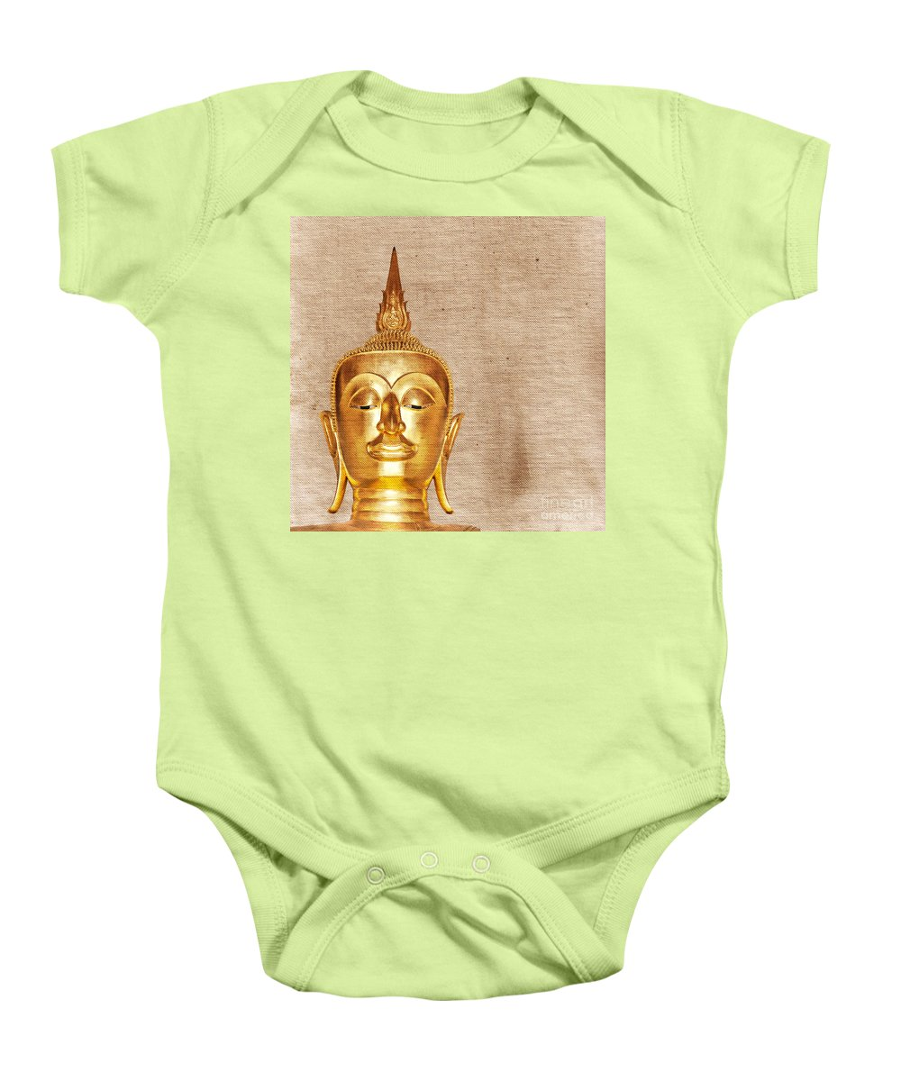 Decor Baby Onesie featuring the photograph Gold Painted Buddha Statue by Sophie McAulay
