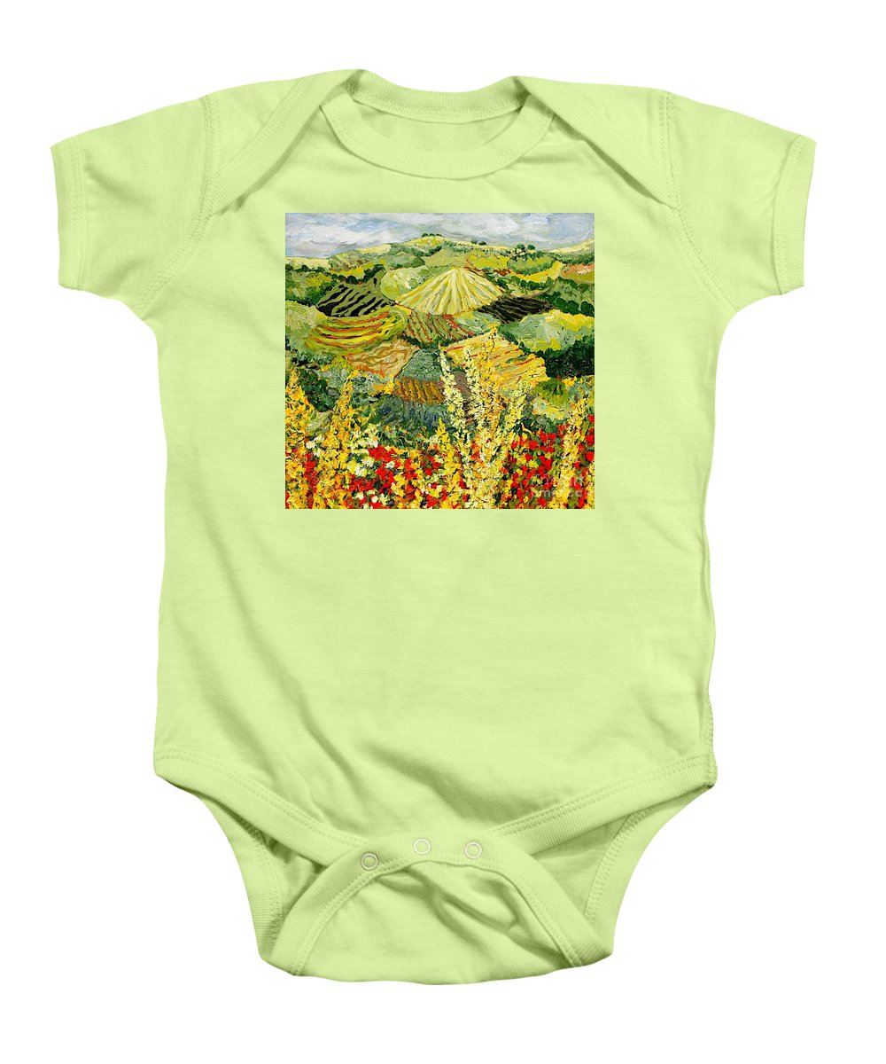 Landscape Baby Onesie featuring the painting Golden Hedge by Allan P Friedlander
