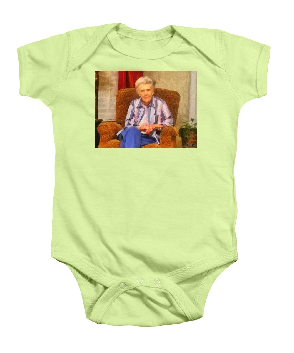 Chair Baby Onesie featuring the painting Grandmother by Jeffrey Kolker