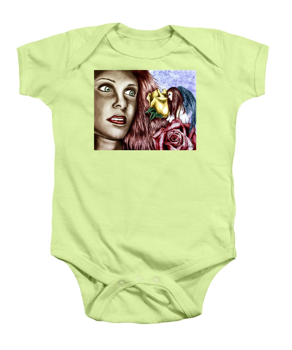 Haleys Apparition Baby Onesie featuring the drawing Haleys Apparition Colored by Peter Piatt