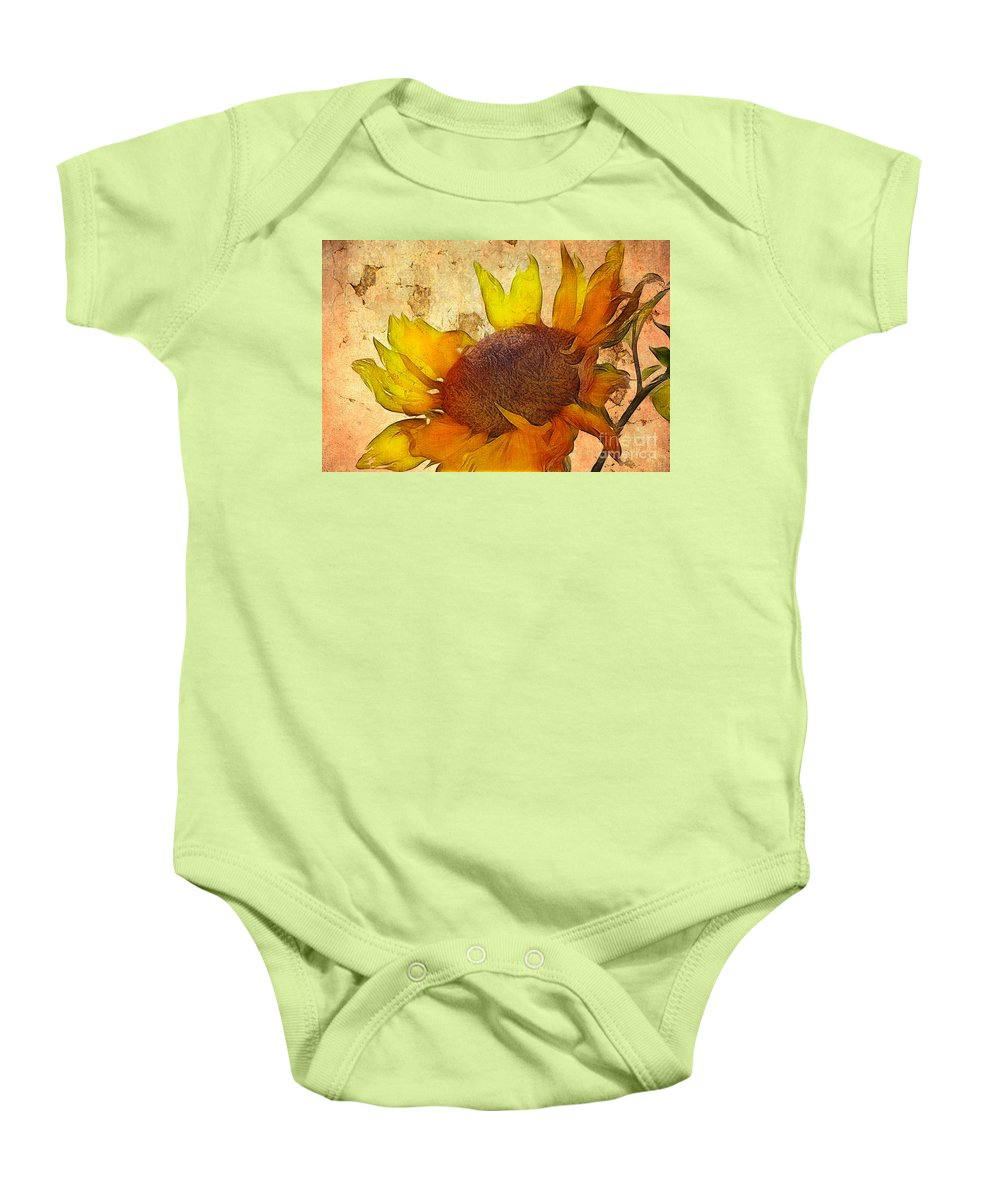 Sunflower Painting Baby Onesie featuring the digital art Helianthus by John Edwards