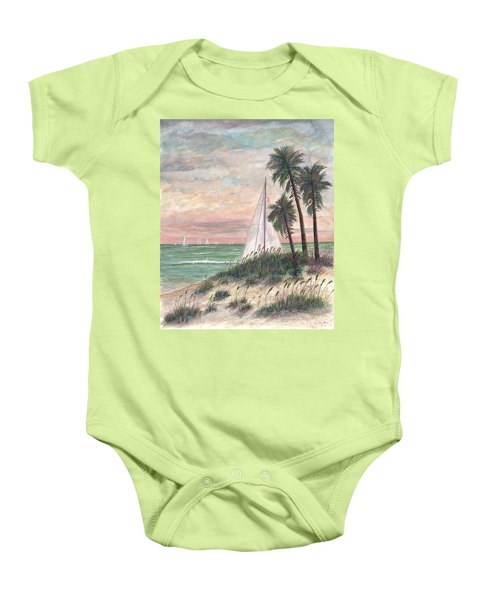 Sailboats; Palm Trees; Ocean; Beach; Sunset Baby Onesie featuring the painting Hideaway by Ben Kiger
