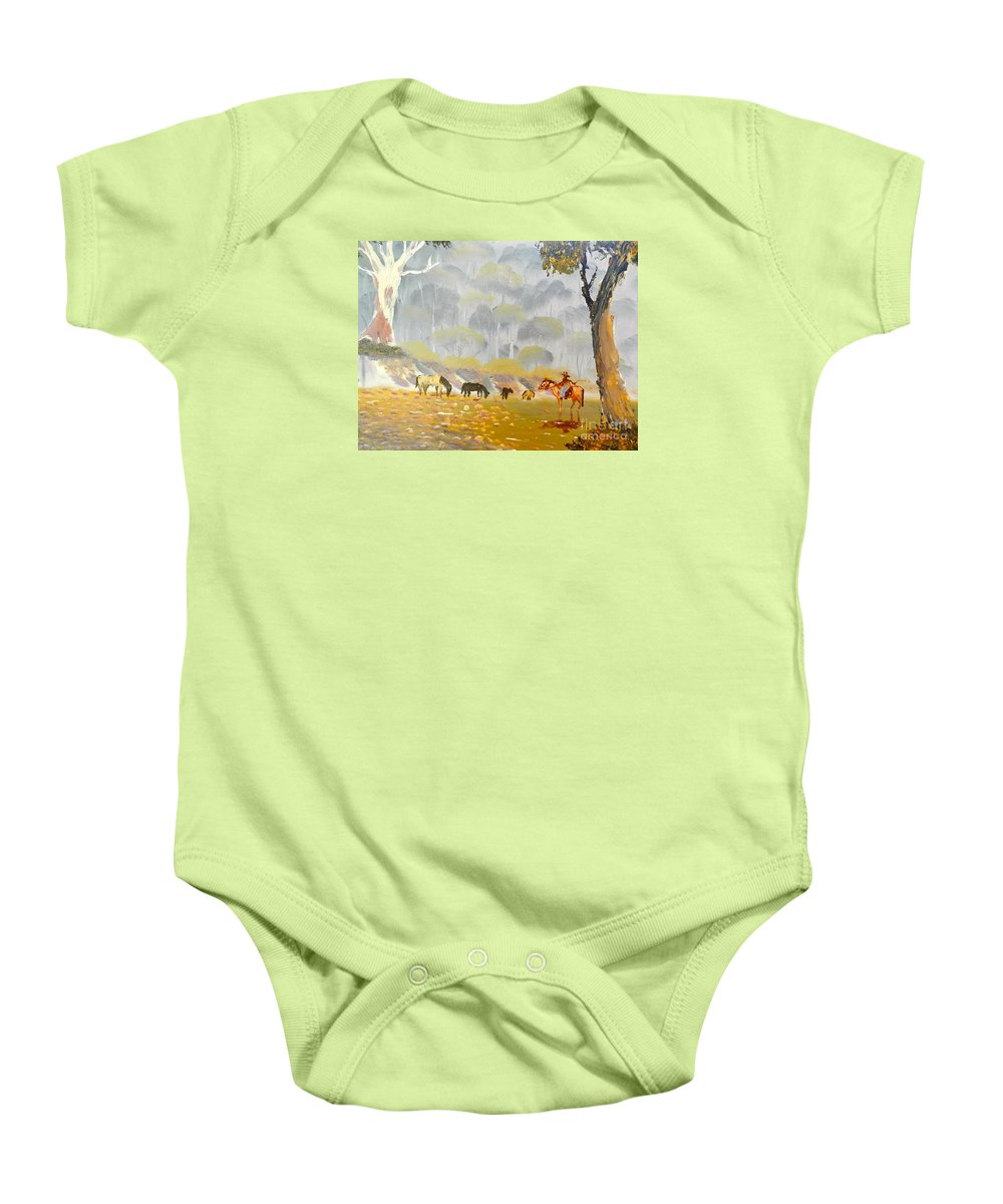 Impressionism Baby Onesie featuring the painting Horses Drinking In The Early Morning Mist by Pamela Meredith