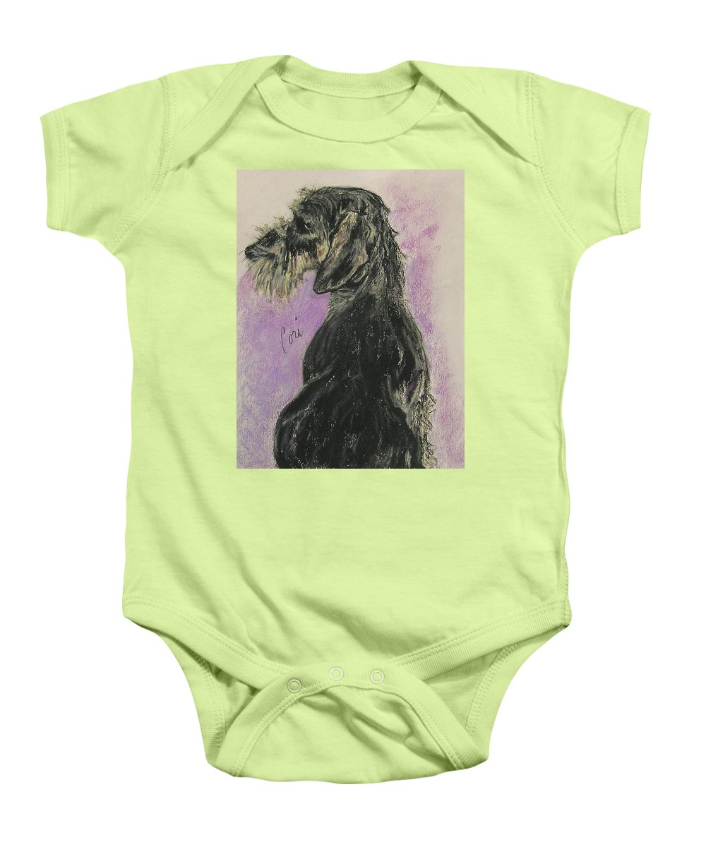 Dachshund Baby Onesie featuring the drawing Hot Wired by Cori Solomon