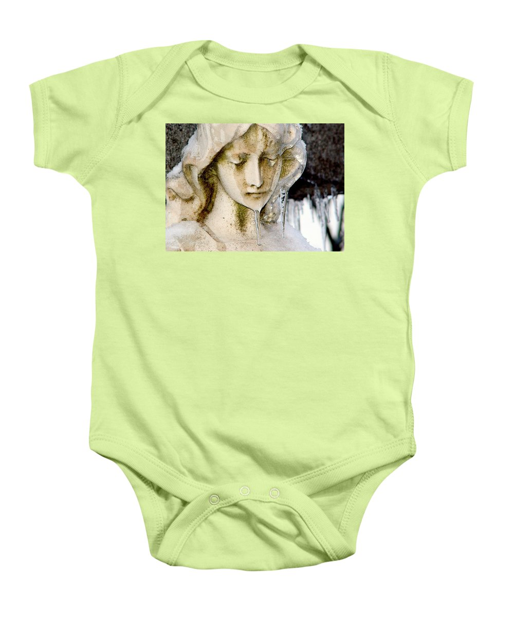 Winter Baby Onesie featuring the photograph Ice Tear Drop by Gothicrow Images