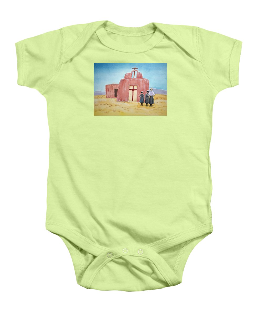 New Mexico Baby Onesie featuring the painting In Old New Mexico II by Michele Myers