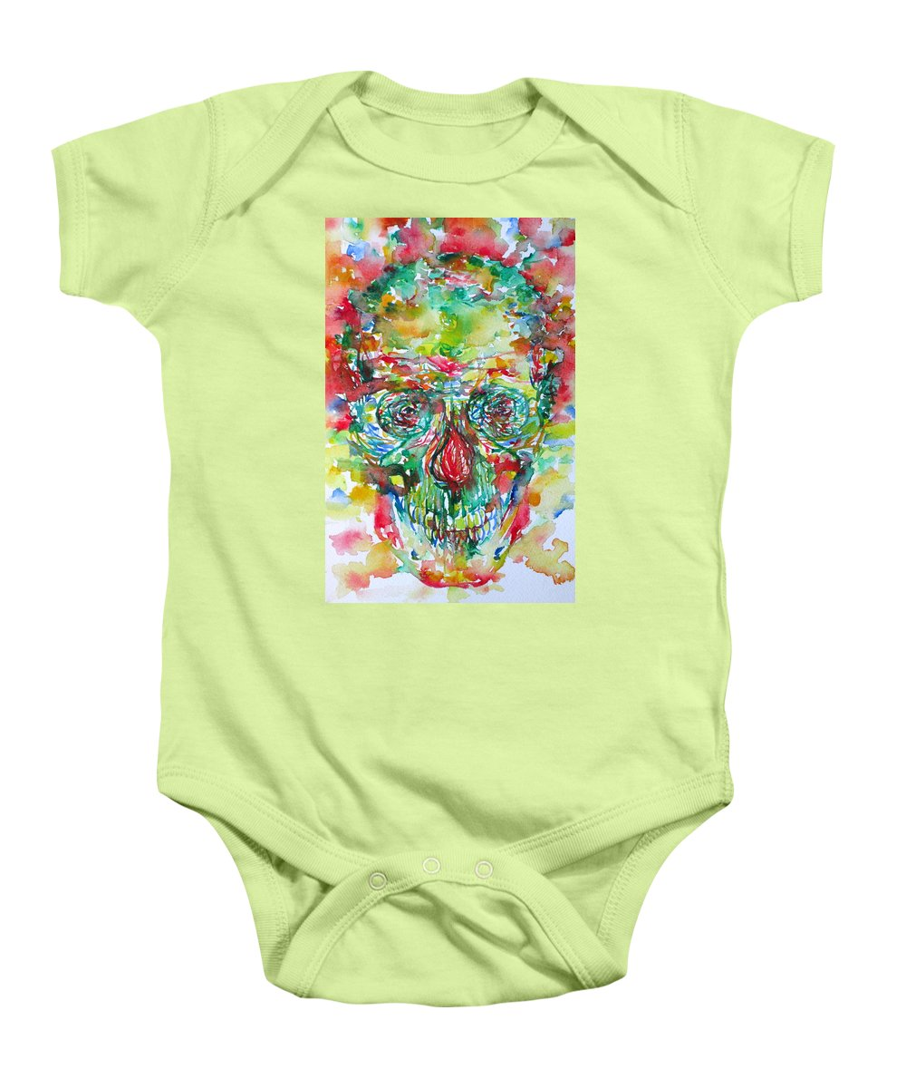 Skull Baby Onesie featuring the painting In Silence The Inaudible Voices Spoke by Fabrizio Cassetta