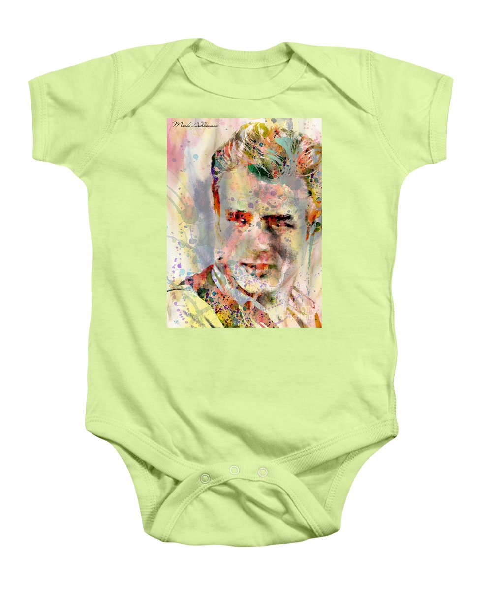 Abstract Baby Onesie featuring the painting James Dean by Mark Ashkenazi