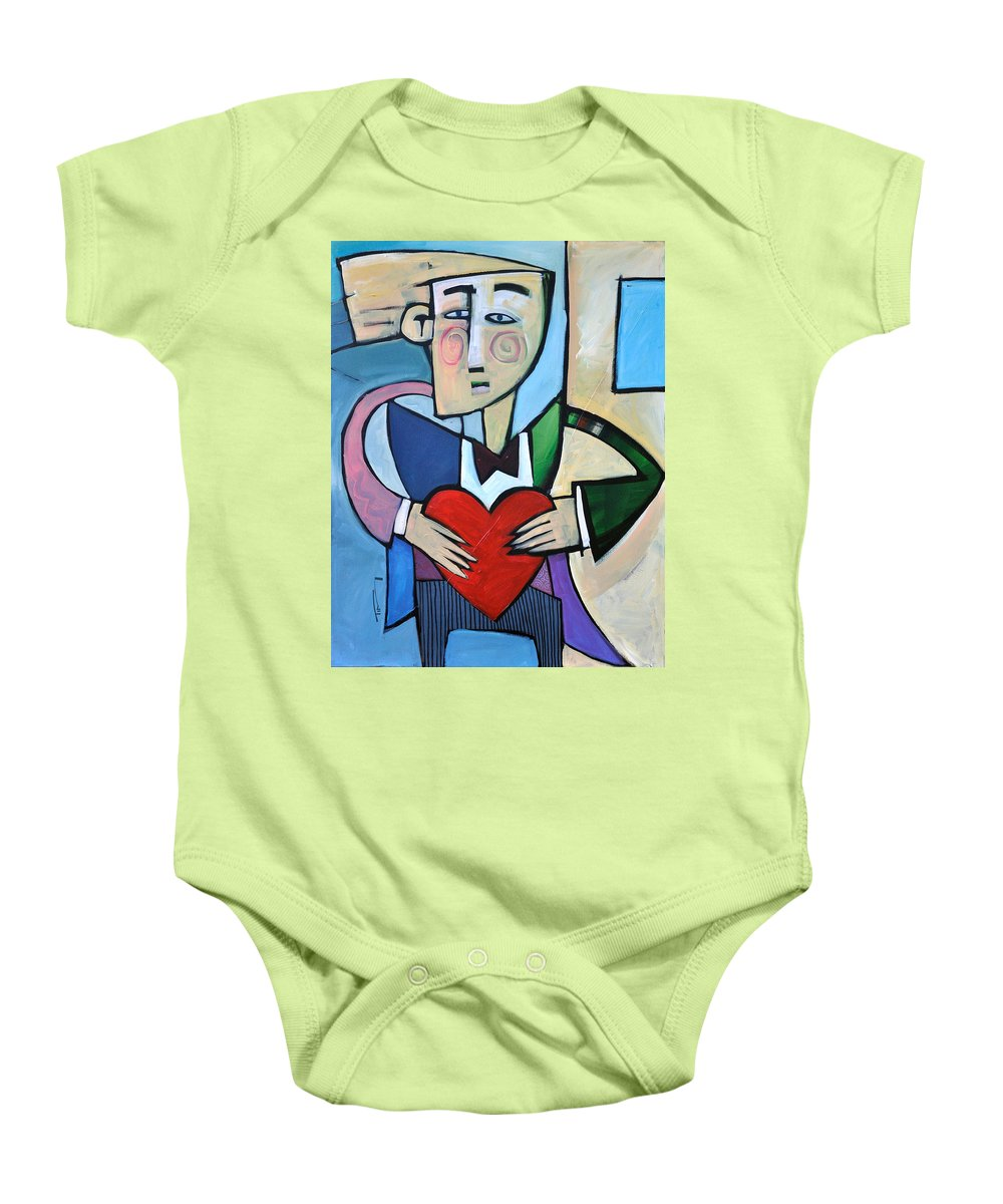 Heart Baby Onesie featuring the painting Joseph Came A Courtin by Tim Nyberg