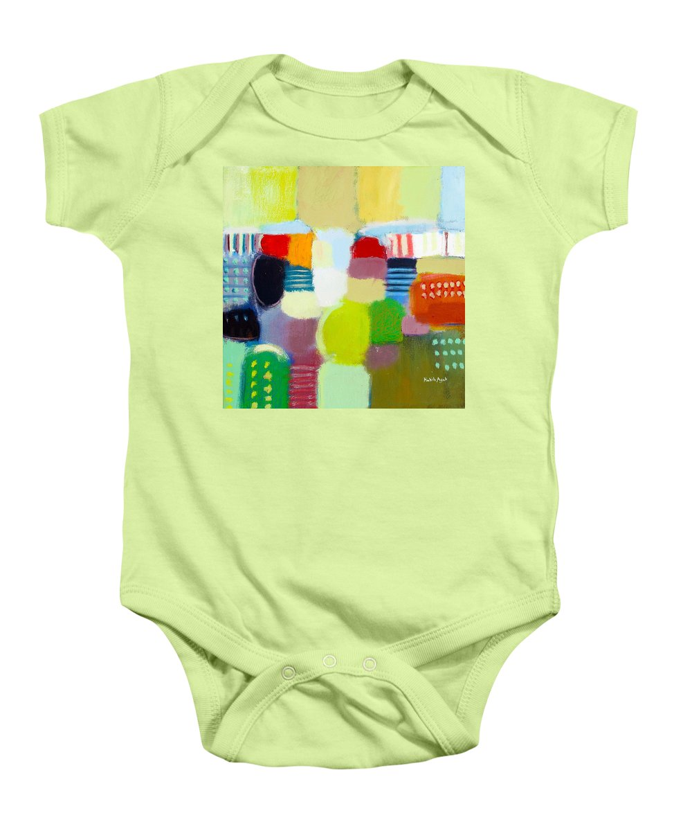 Peace Baby Onesie featuring the painting Joy N Peace by Habib Ayat